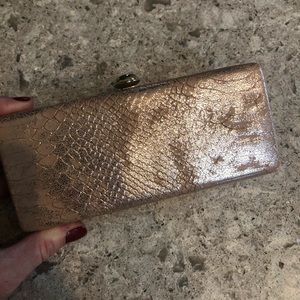 Rose gold snake print clutch Deux lux